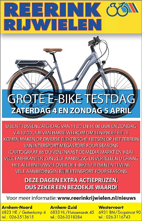 GROTE E-BIKE TESTDAG OP ZATERDAG 4 EN ZONDAG 5 APRIL